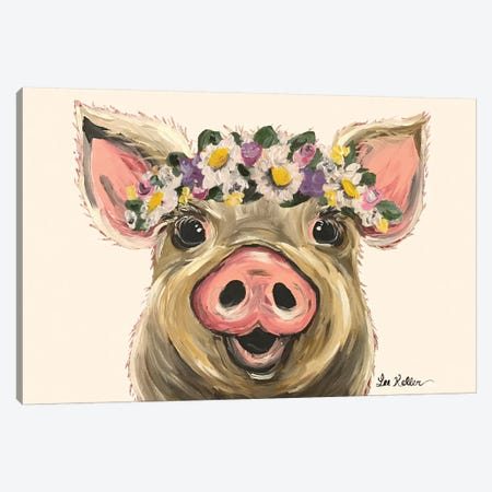 Pig With Flower Crown On Blush Canvas Print #HHS94} by Hippie Hound Studios Canvas Wall Art