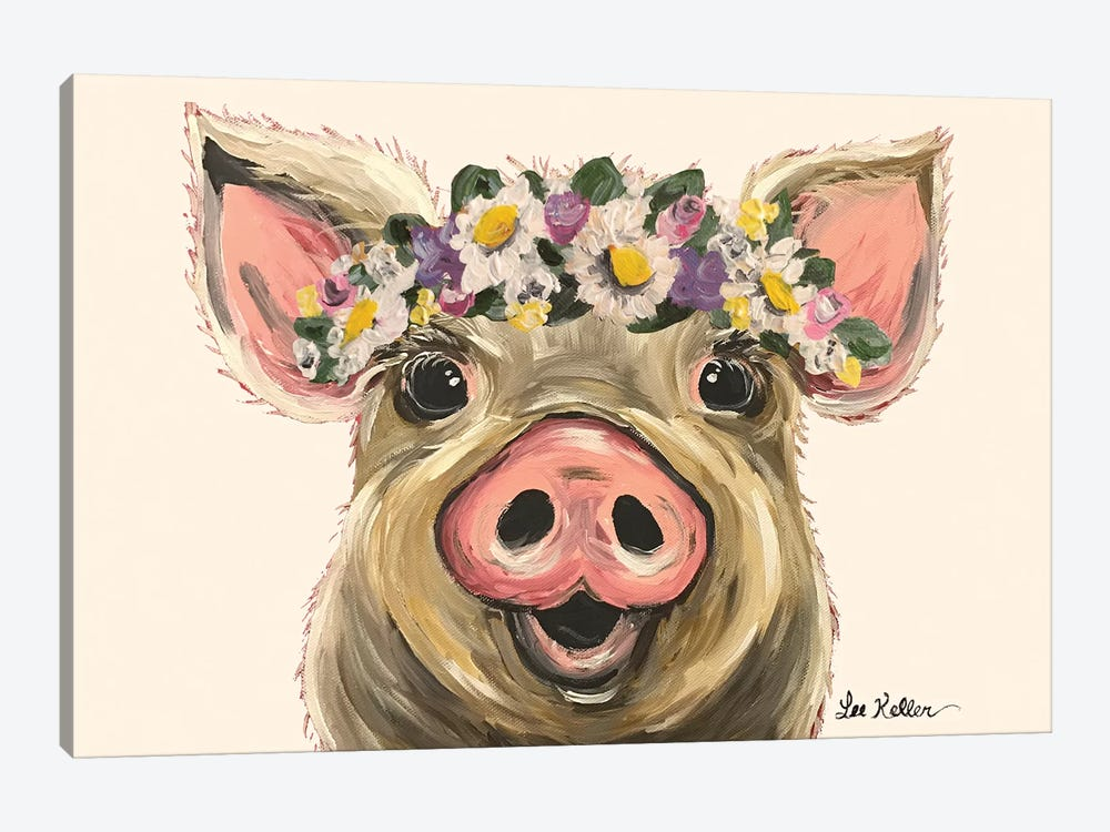 Pig With Flower Crown On Blush 1-piece Canvas Print