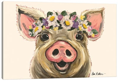 Pig With Flower Crown On Blush Canvas Art Print