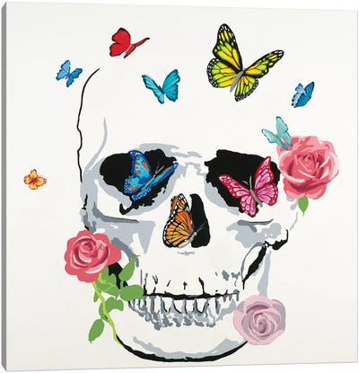 Butterfly Flower Skull Canvas Art Print