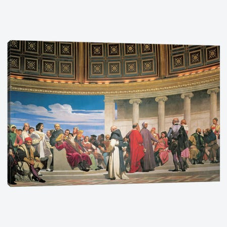 Hemicycle: Artists of All Ages, detail of the right hand side, 1836-41 (fresco) (see also 83553 and 83554) Canvas Print #HID1} by Hippolyte Delaroche Canvas Print