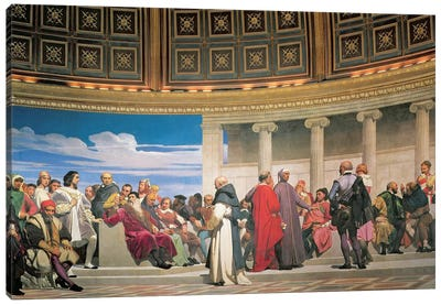 Hemicycle: Artists of All Ages, detail of the right hand side, 1836-41 (fresco) (see also 83553 and 83554) Canvas Art Print