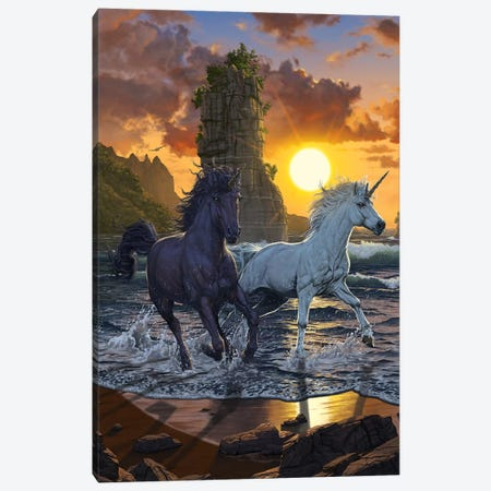 Unicorns In Sunset 3-Piece Canvas #HIE105} by Vincent Hie Art Print