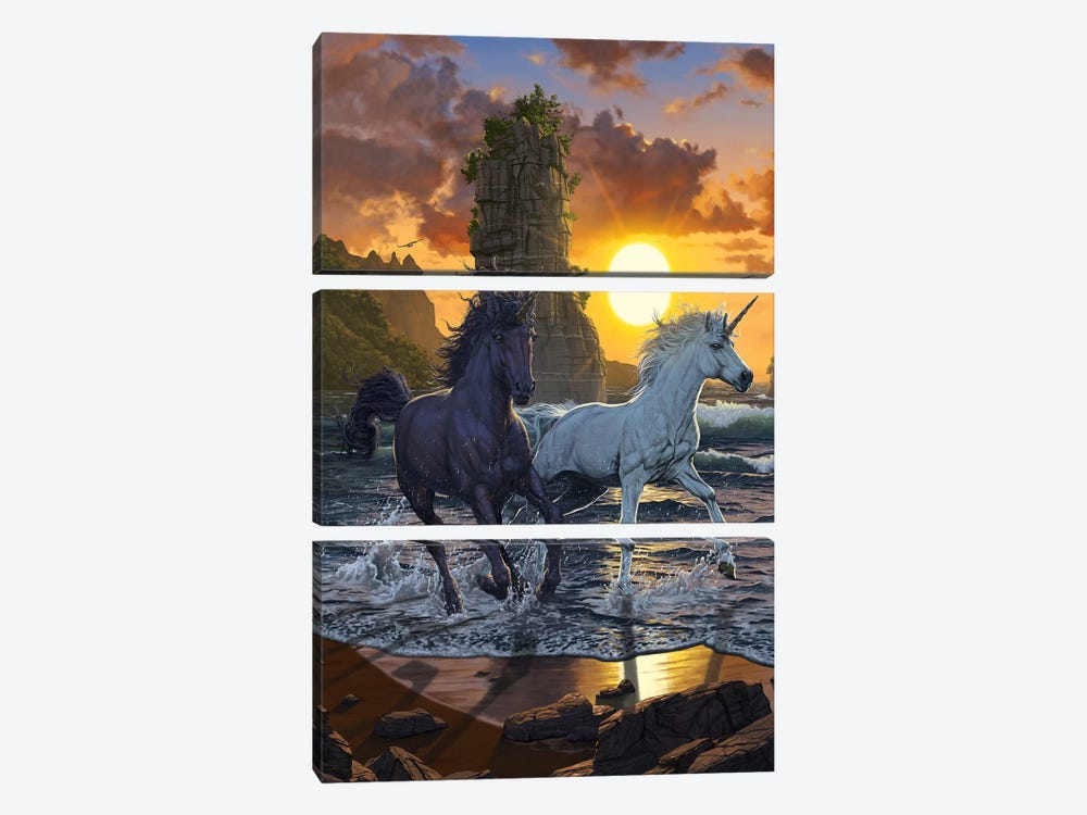 Unicorns In Sunset by Vincent Hie 3-piece Canvas Artwork
