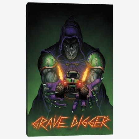 Grave Digger Unleashed Monster Trucks Canvas Print #HIE117} by Vincent Hie Canvas Wall Art
