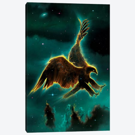 Eagle Galaxy Canvas Print #HIE22} by Vincent Hie Art Print