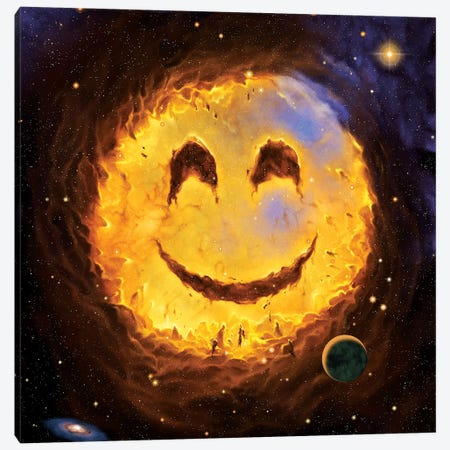 Galaxy Smile Canvas Print #HIE24} by Vincent Hie Canvas Art