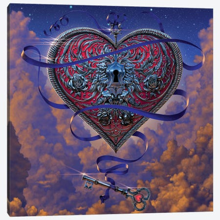 Heart And Key Canvas Print #HIE26} by Vincent Hie Canvas Art