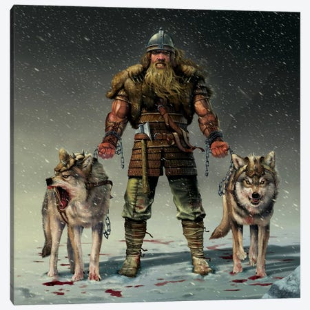 Mountain Viking Canvas Print #HIE32} by Vincent Hie Canvas Artwork