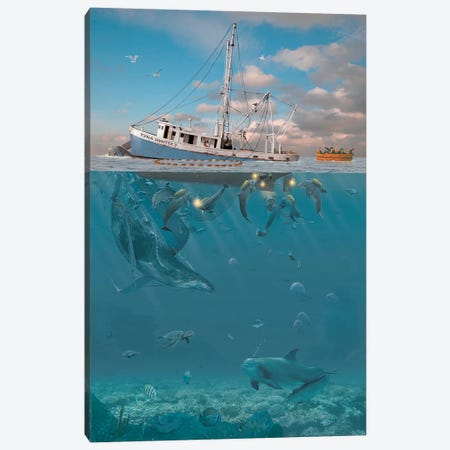 Rage Of The Dolphin Canvas Print #HIE38} by Vincent Hie Canvas Art