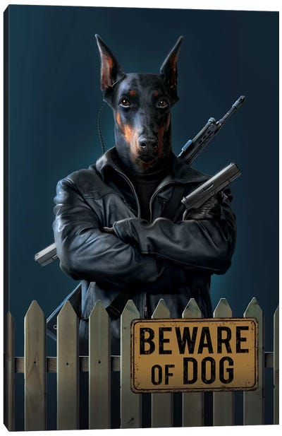 Beware Of Dog Canvas Art Print