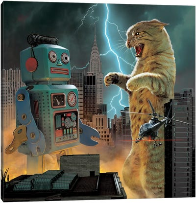 Catzilla Vs Robot  Canvas Art Print