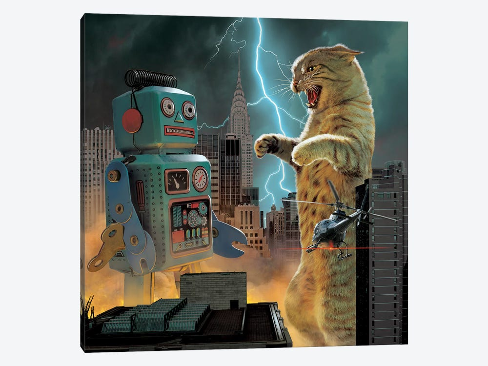 Catzilla Vs Robot  1-piece Canvas Artwork