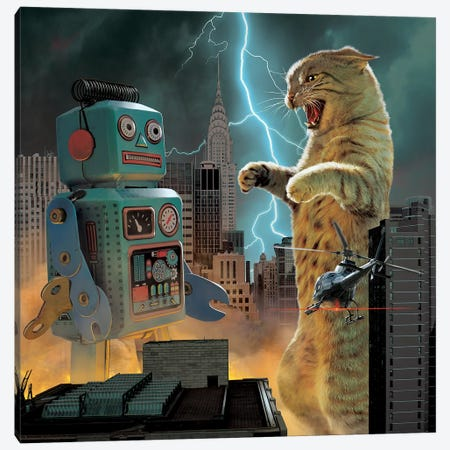 Catzilla Vs Robot  Canvas Print #HIE70} by Vincent Hie Canvas Wall Art