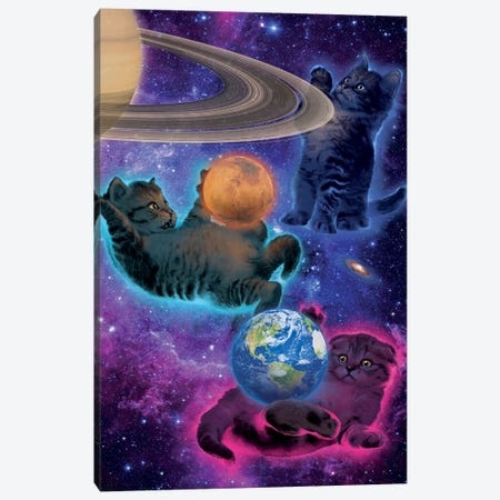Cosmic Kittens Canvas Print #HIE73} by Vincent Hie Canvas Artwork