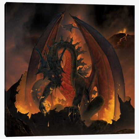 Fireball Dragon Canvas Print #HIE75} by Vincent Hie Canvas Print