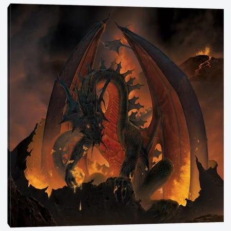 Fireball Dragon Canvas Print #HIE75} by Vincent Hie Canvas Print