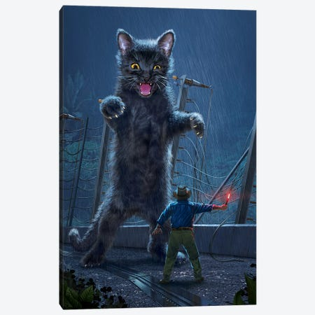 Jurassic Kitty Canvas Print #HIE78} by Vincent Hie Canvas Artwork
