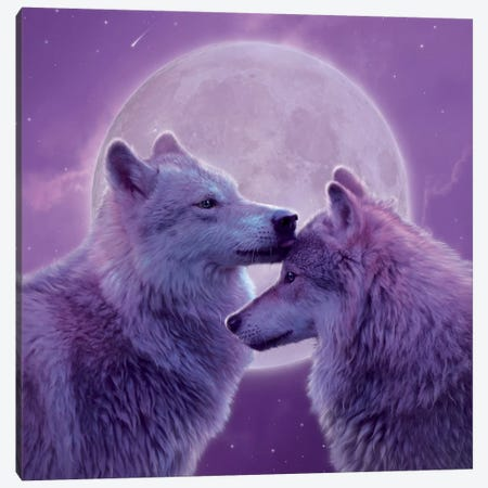 Loving Wolves Canvas Print #HIE80} by Vincent Hie Canvas Print