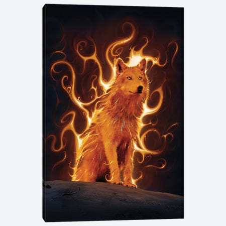 Phoenix Wolf  Canvas Print #HIE82} by Vincent Hie Canvas Art Print