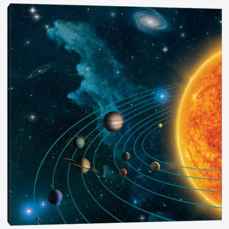 Solar System Canvas Print #HIE87} by Vincent Hie Canvas Artwork
