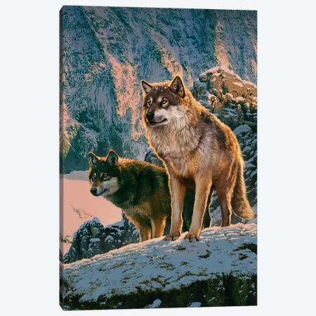 Wolf Couple In Sunset  Canvas Print #HIE90} by Vincent Hie Canvas Wall Art