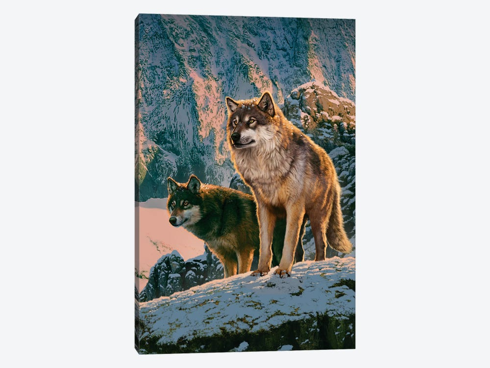 Wolf Couple In Sunset  by Vincent Hie 1-piece Canvas Artwork