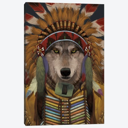 Wolf Spirit Chief Canvas Print #HIE91} by Vincent Hie Canvas Wall Art