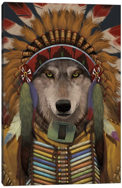 Wolf Spirit Chief Canvas Art Print