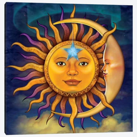 Sun Moon Canvas Print #HIE94} by Vincent Hie Canvas Art Print