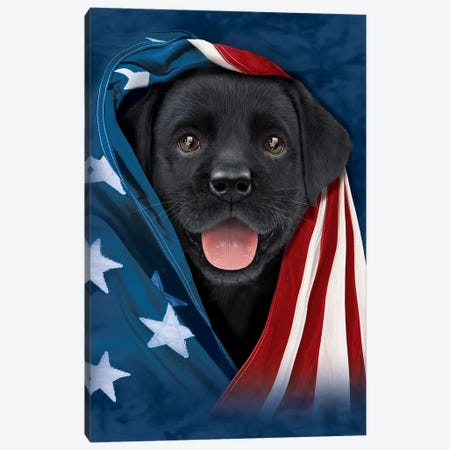 Chocolate Lab In Flag Canvas Print #HIE96} by Vincent Hie Canvas Art Print