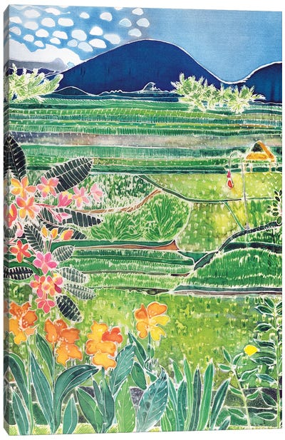 Lovina Ricefields With Lilies And Frangipani, Bali, 1996 Canvas Art Print