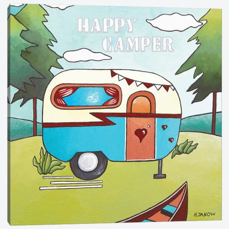 Happy Camper Canvas Print #HJM19} by Helen Janow Miqueo Canvas Wall Art