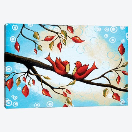 Love Birds Canvas Print #HJM26} by Helen Janow Miqueo Canvas Artwork