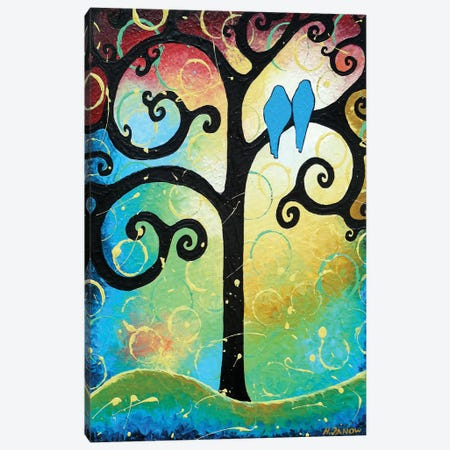 Lovebirds Of Happiness II Canvas Print #HJM30} by Helen Janow Miqueo Canvas Artwork