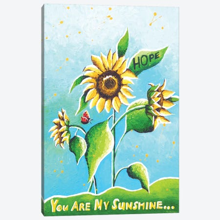 Sun Flowers Canvas Print #HJM40} by Helen Janow Miqueo Canvas Art Print