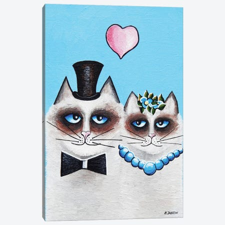 Mr. & Mrs. Meow Canvas Print #HJM52} by Helen Janow Miqueo Canvas Wall Art