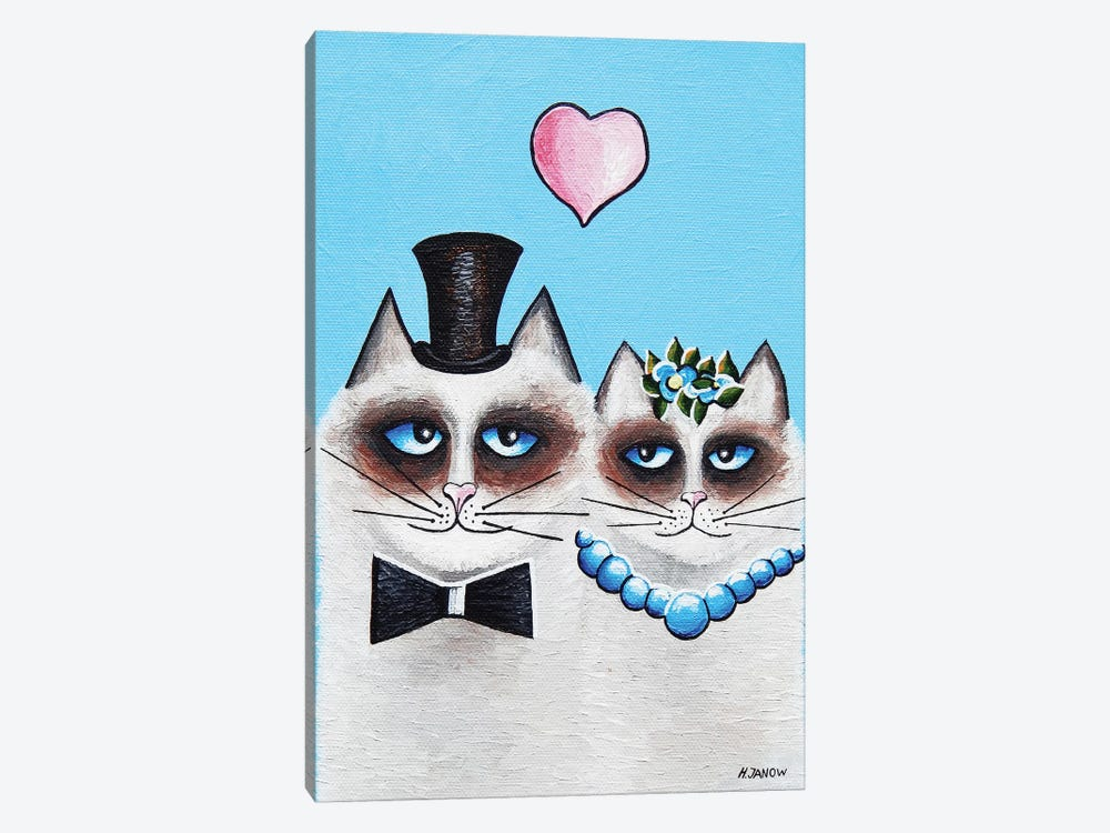 Mr. & Mrs. Meow by Helen Janow Miqueo 1-piece Canvas Print
