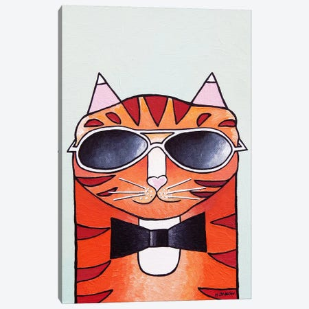 One Cool Cat Canvas Print #HJM53} by Helen Janow Miqueo Canvas Wall Art