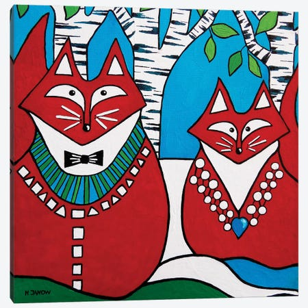 Two Foxes Canvas Print #HJM59} by Helen Janow Miqueo Canvas Wall Art