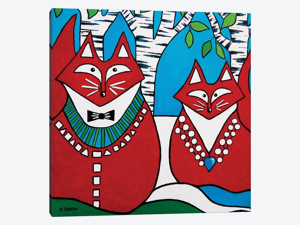 Two Foxes by Helen Janow Miqueo 1-piece Canvas Wall Art