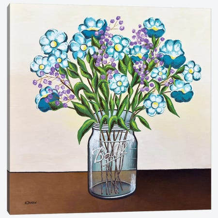 Flowers in Mason Jar Canvas Print #HJM63} by Helen Janow Miqueo Canvas Art Print