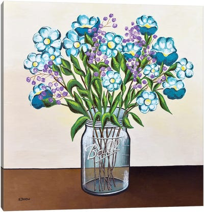 Flowers in Mason Jar Canvas Art Print