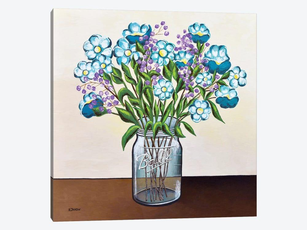 Flowers In Mason Jar Canvas Print