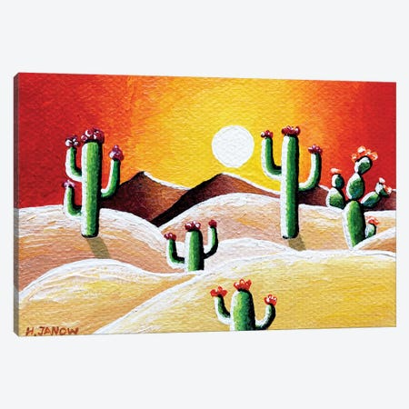 Sunset in Desert Canvas Print #HJM69} by Helen Janow Miqueo Canvas Art Print