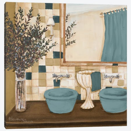 Blue Zen Bath I Canvas Print #HKR22} by Hakimipour-Ritter Art Print