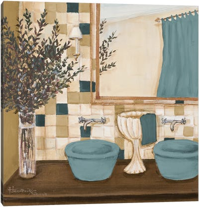 Blue Zen Bath I Canvas Art Print
