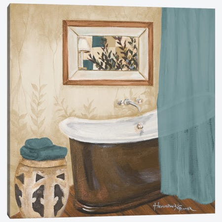 Blue Zen Bath II Canvas Print #HKR23} by Hakimipour-Ritter Canvas Art Print