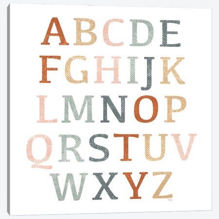 Rustic Rainbow Alphabet Canvas Print #HKZ2} by Heidi Kuntz Canvas Wall Art