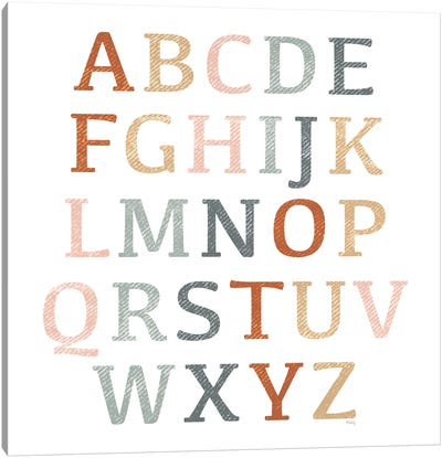 Rustic Rainbow Alphabet Canvas Art Print
